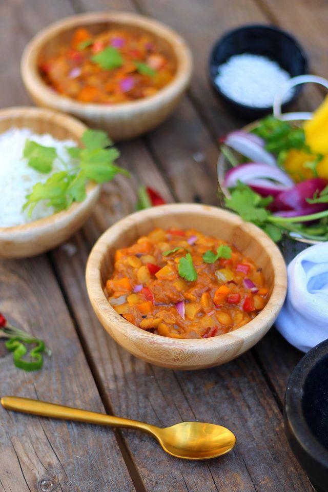 dahlde lentilles aux poivrons tricolores