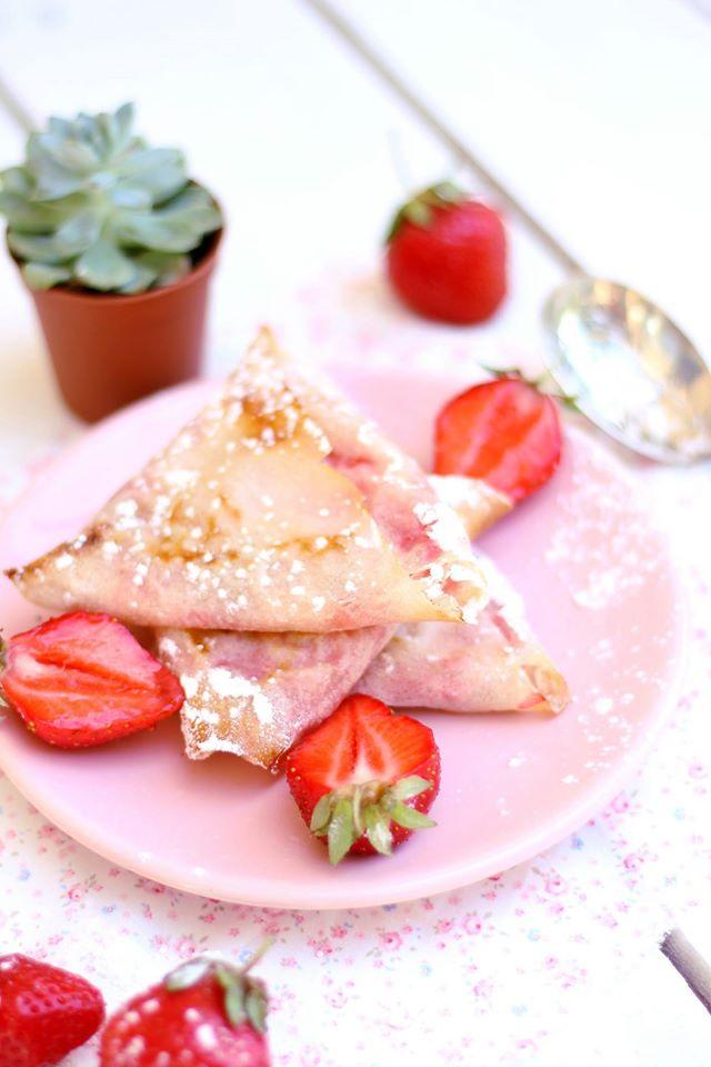 samoussa croustillants aux fraises