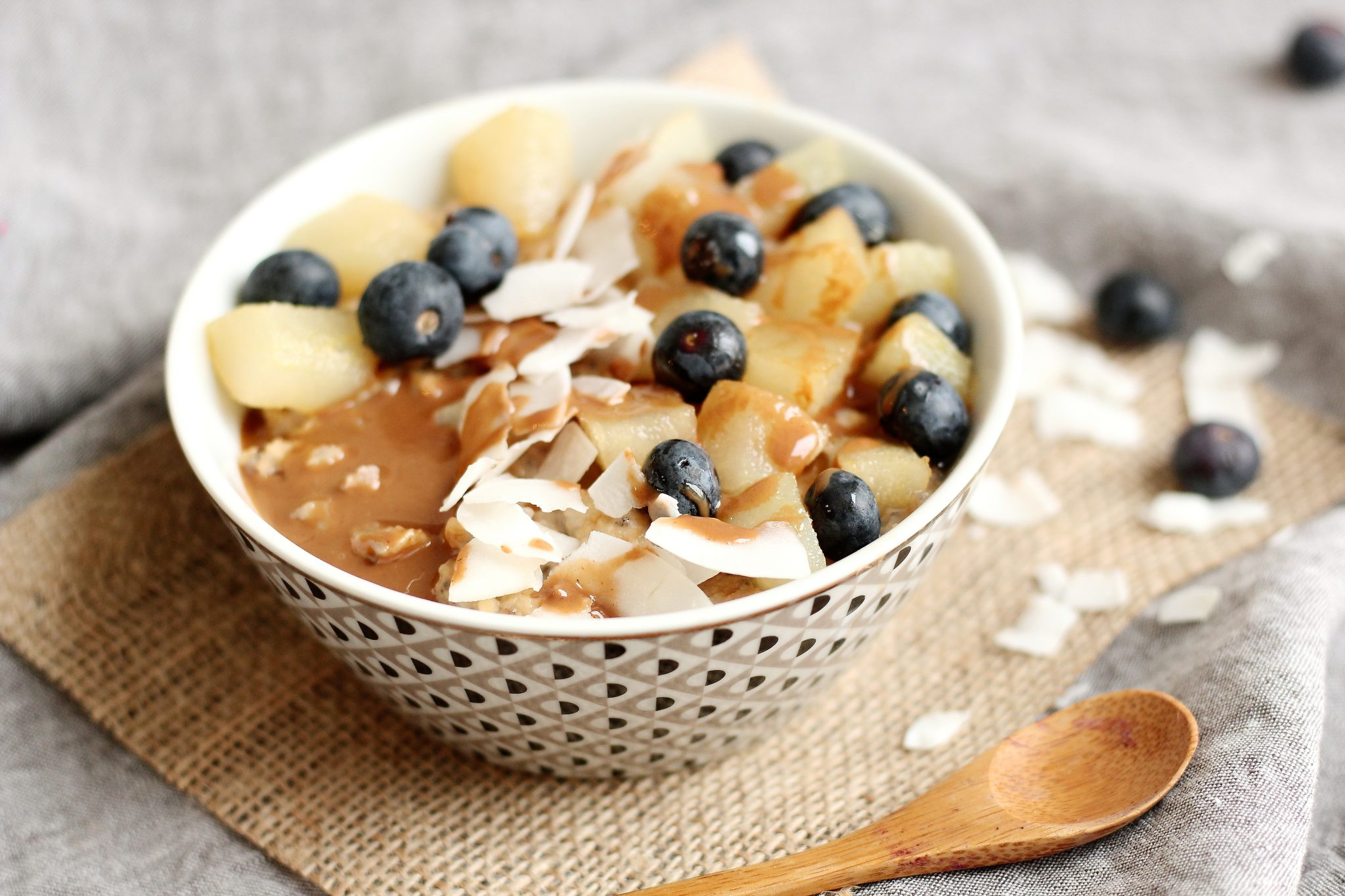 porridge poire noisette à la vapeur douce