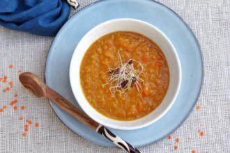 soupe aux lentilles corail curry-coco