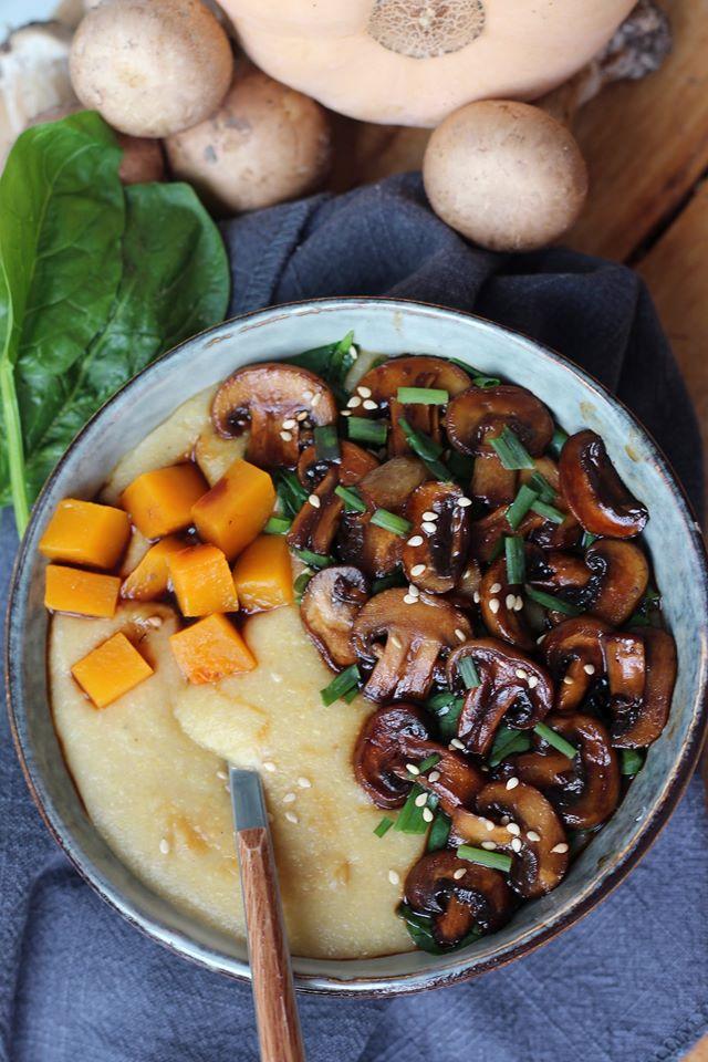 polenta végétalienne au champignon